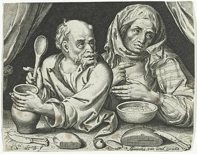 Porridge Drawing - Man And Woman Eating Porridge, Nicolaes De Bruyn by Nicolaes De Bruyn And Assuerus Van Londerseel