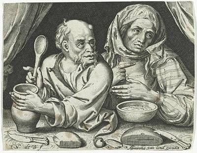 Man And Woman Eating Porridge, Nicolaes De Bruyn Art Print by Nicolaes De Bruyn And Assuerus Van Londerseel
