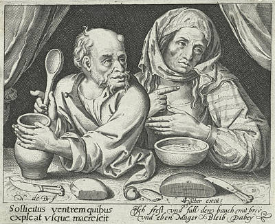 Porridge Drawing - Man And Woman Eating Porridge, Nicolaes De Bruyn by Nicolaes De Bruyn And Claes Jansz. Visscher (ii)