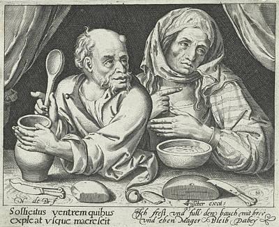 Man And Woman Eating Porridge, Nicolaes De Bruyn Art Print by Nicolaes De Bruyn And Claes Jansz. Visscher (ii)
