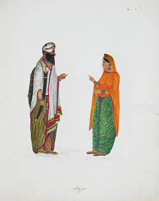 Pencil Work Photograph - Man And Woman From Pothohar by British Library