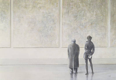 Man And Woman In An Art Gallery Art Print by Lincoln Seligman