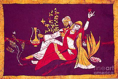 Man And Woman India Batik Art Print