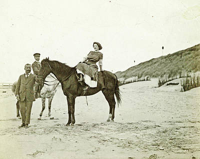 North Sea Drawing - Man And Woman On Horseback On The Beach, North Sea by Artokoloro