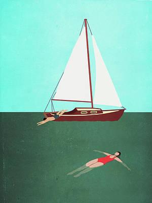 Digital Art - Man And Woman Swimming In Sea By Boat by Malte Mueller