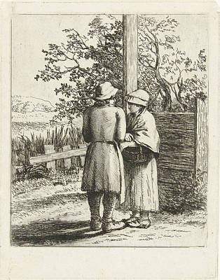 Fence Drawing - Man And Woman Talking, Louis Bernard Coclers by Louis Bernard Coclers