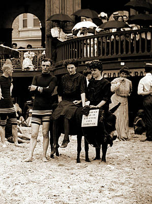 Man And Women Posed On Donkey For Photo At Crowded Beach Art Print by Litz Collection