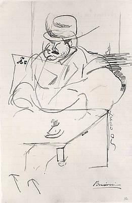 Umberto Boccioni Drawing - Man At A Caf� Table, Paris by Umberto Boccioni
