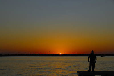 Photograph - Man At Sunset. by Charles Beeler