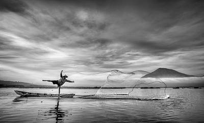 Raft Photograph - Man Behind The Nets by Arief Siswandhono