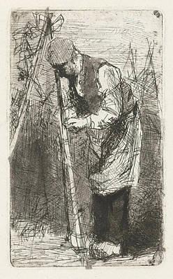 Man Binds Beans Stakes In Vegetable Garden Art Print by Bernardus Johannes Blommers