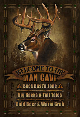 Cave Painting - Man Cave Deer by JQ Licensing