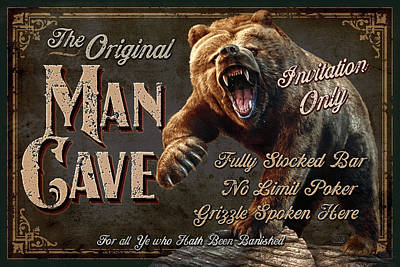Grizzly Bear Painting - Man Cave Grizzly by JQ Licensing