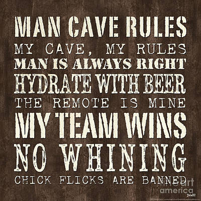 Cave Painting - Man Cave Rules 1 by Debbie DeWitt