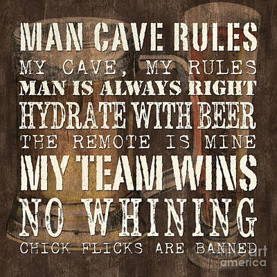 Cave Painting - Man Cave Rules Square by Debbie DeWitt