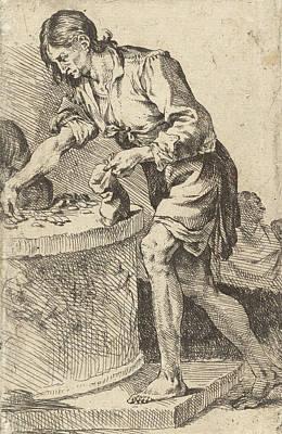 Man Counting Money, Print Maker Jan De Bisschop Art Print