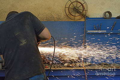 Man Cutting Steel With Grinder Art Print