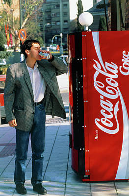 Man Drinking A Can Of Coke Art Print by Marcelo Brodsky/science Photo Library