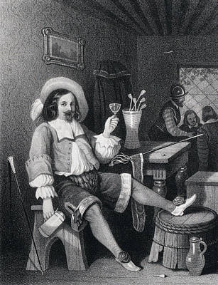 Man Drinking Wine, Wine Glass, Jug, Hat, Walking Stick Art Print by English School