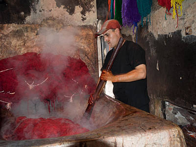 Marrakesh Photograph - Man Dyeing Wool In The Souk, Marrakesh by Panoramic Images