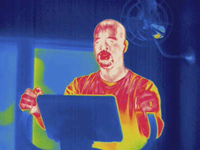 Man Exercising, Thermogram Print by Science Stock Photography