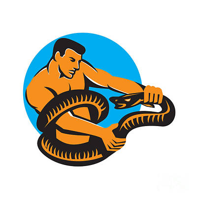 Boa Constrictor Digital Art - Man Fighting Boa Constrictor Snake Retro by Aloysius Patrimonio