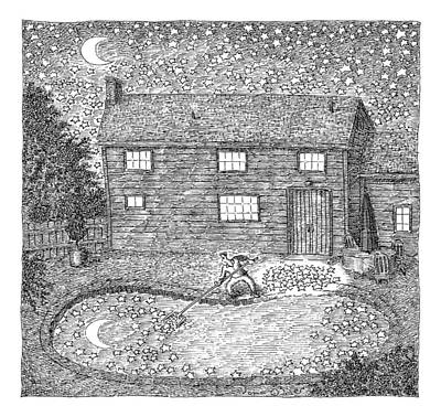 Night Drawing - Man Fishes Stars Out Of His Pool At Nighttime by John O'Brien