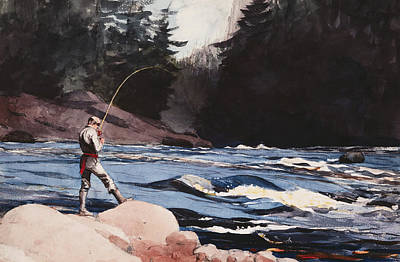 Key West Painting - Man Fishing A New England Stream by Celestial Images