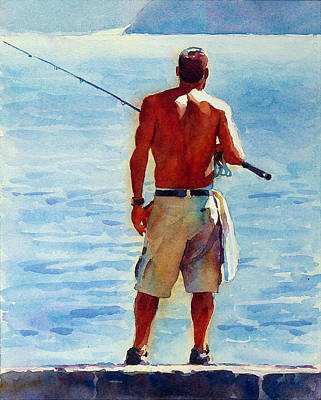 Man, Fishing Art Print by Graham Berry