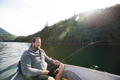 Harrison Hot Springs Wall Art - Photograph - Man Fishing In Hicks Lake, Harrison Hot by Christopher Kimmel