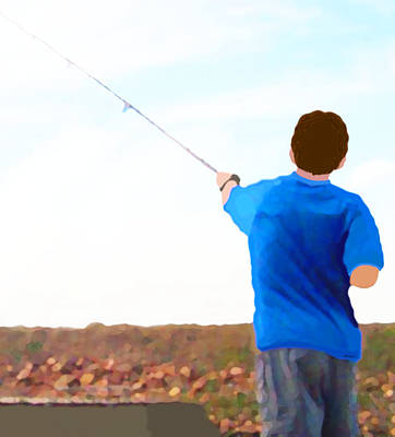 Painting - Man Fishing by Marian Cates