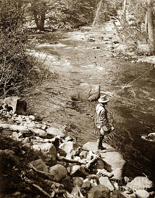 Photograph - Man Fly Fishing In A River California Circa 1910 by California Views Mr Pat Hathaway Archives
