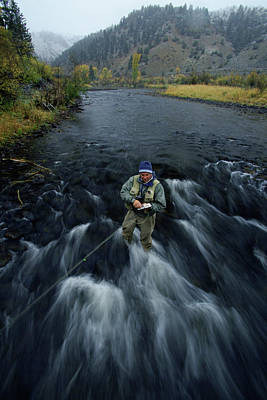 Colorado Fly Fishing River Wall Art - Photograph - Man Flyfishing In A Stream, Colorado by Chris Giles