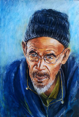 . Soft Pastel Painting - Man From Ladakh by Arti Chauhan