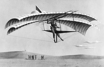 Excellence Photograph - Man Gliding In 1883 by Underwood Archives