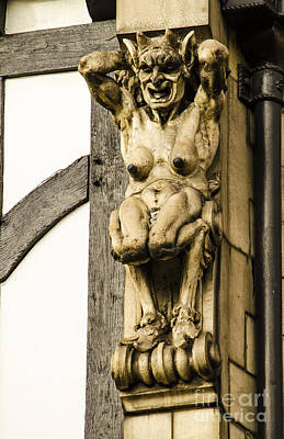 United Kingdom Photograph - Man/goat Chimera Carving by Deborah Smolinske