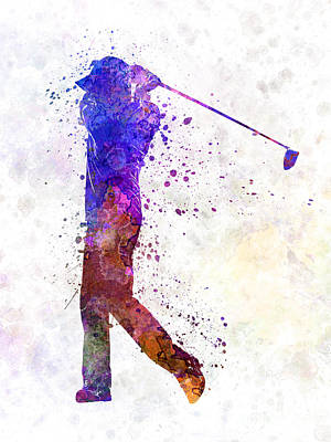 Swing Painting - Man Golfer Swing Silhouette by Pablo Romero
