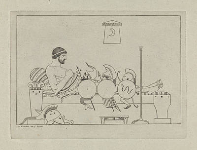 Pi Drawing - Man Greek Couch, David Pirre Giottino Humbert De Superville by David Pi?rre Giottino Humbert De Superville