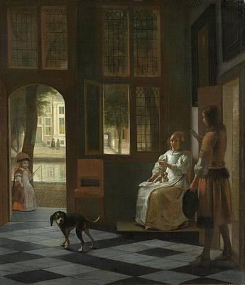 Pieter De Hooch Wall Art - Painting - Man Handing A Letter To A Woman In The Entrance Hall Of A House by Pieter de Hooch