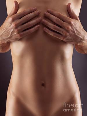 Man Hands Covering Nude Woman Breasts Art Print by Oleksiy Maksymenko