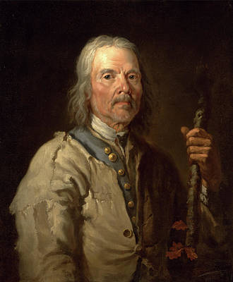 Staff Painting - Man Holding A Staff Old Man With Staff, Thomas Barker by Litz Collection