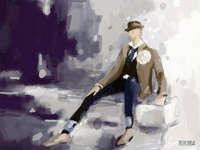 Dark Painting - Man In A Fedora Fashion Illustration Art Print by Beverly Brown Prints