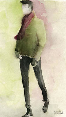Abstract Portrait Painting - Man In A Green Jacket Fashion Illustration Art Print by Beverly Brown Prints
