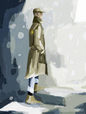 Beige Painting - Man In A Trench Coat Fashion Illustration Art Print by Beverly Brown