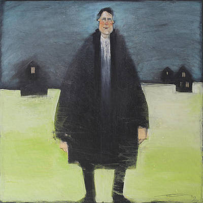 Fashion Paintings - Man In Black Coat by Tim Nyberg