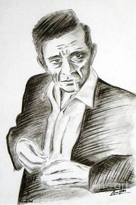 Johnny Cash Drawing - Man In Black - Johnny Cash by Arno Laros