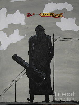 Bi-plane Painting - Man In Black Johnny Cash by Jeffrey Koss