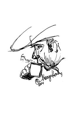 Sipping Painting - Man In Cowboy Hat Sipping Coffee by Meagan Healy