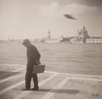 Venice Photograph - Man In Fedora With Bird by Beverly Brown Prints