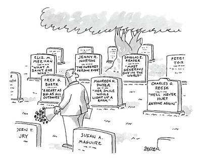 Maureen Drawing - Man In Graveyard Looks At Tombstones by Jack Ziegler